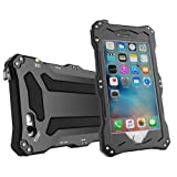 Iphone SE case, Feitenn Water resistant Shockproof Dust Proof Armor Aluminum Metal bumper Gorilla Glass Military Heavy Protection Case for Iphone 5S SE (Black) (Color: Black)