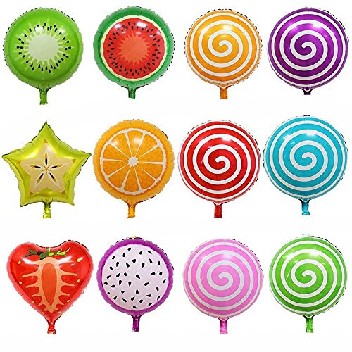 18 Inch Hydrogen Balloons Fruit Foil Balloons Candy Balloons Party Decor Pack of 12 (Fruit Party compare prices)