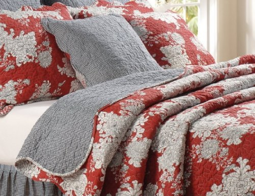 6Pc Modern Red Black Floral Reversible Quilt Set Full/Queen + Pillows + Bed Skirt front-67362