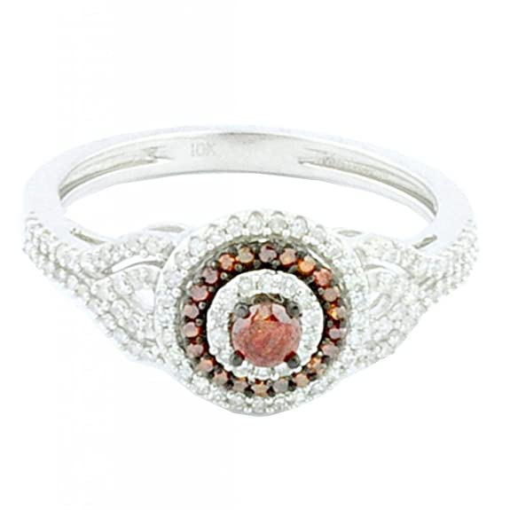 Rings-MidwestJewellery.com Women's 4/10Cttw Diamond Engagement Ring 10K White Gold Red And White Diamond 9.5Mm Wide Halo