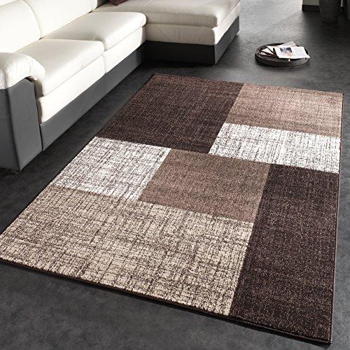 Tappeto Di Design Moderno A Quadri Tappeto A Pelo Corto Marrone Crema, Dimensione:160x230 cm