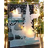 Winter Scene - Glass Candle Holder With Deer Silouette - 2 Flameless LED Tea Lights Are Included - Mirrored Glass...