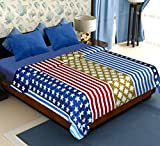 Story@Home Coral Collection Soft Printed Fleece Double Bed Blanket, Blue