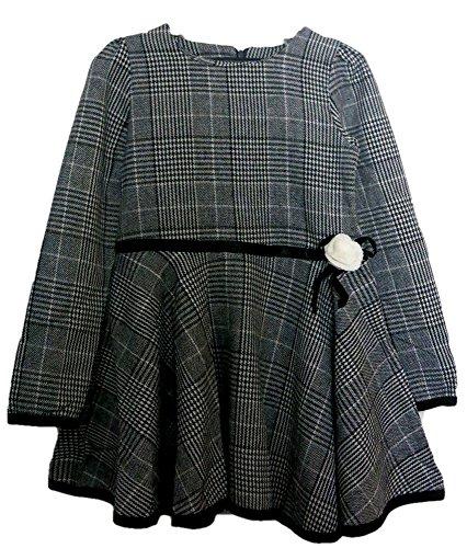 IIHI(イイヒ) 女の子 フォーマル ワンピース 黒 グレー チェック柄 140 サイズ / 子供 子ども こども ドレス スカート 女 子供服 服装 青 / 卒園式 入学式 卒業式 入園式 七五三 結婚式 発表会 TH-312