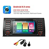 MCWAUTO For BMW 5 Series E39 E53 X5 7 Inch Android 8.0 Multi Touch Screen Car Stereo Radio DVD Player GPS CANbus Screen Mirroring Function OBD2 Octa-Core 64Bit 4G RAM 32GB ROM with rear view camera (Tamaño: Android 8.0)