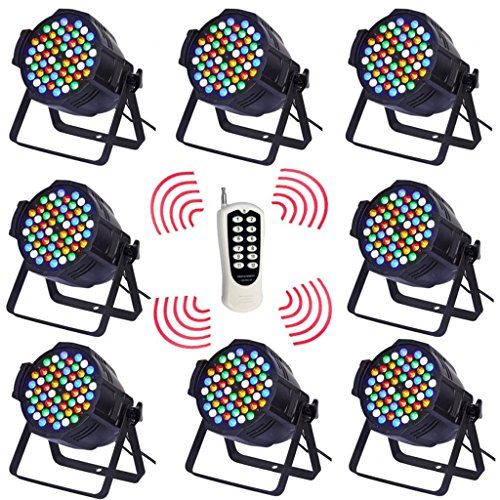 Yiscor Stage Lighting Led Par Light Wireless Control 3Wx54 Rgbw Dmx512 For Dj Home Garden Party Wedding Effect (Pack Of 8)