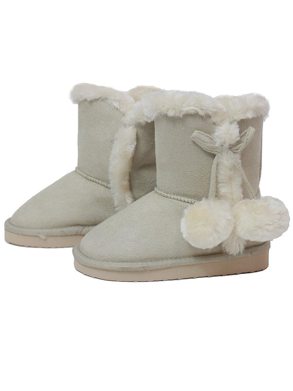 Amazon.co.jp: 【bt3-3532/bt4-3007 子供 ボンボン付ムートンブーツ 女の子 靴 ジュニア スノーブーツ ふわふわ】: Amazonファッション:通販