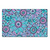 Liili natural rubber Large Table Mat IMAGE ID: 17571166 Pink and blue sunflower pattern
