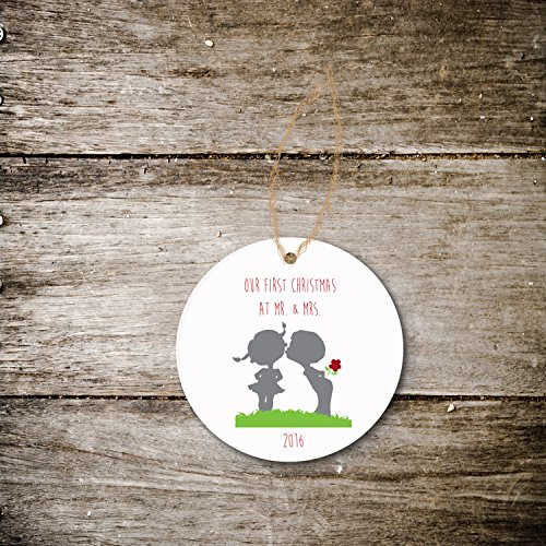 Christmas Ornament Holiday Gift Newlyweds Just Married First Christmas Wedding Bridal Shower