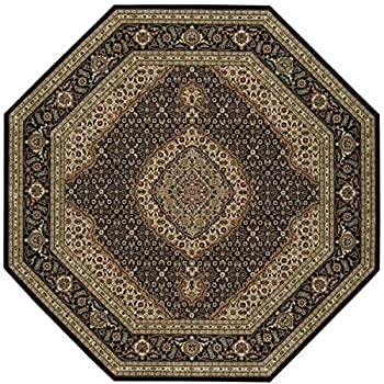 Nourison Persian Arts (BD03) Black Octagon Area Rug, 5-Feet 3-Inches by 5-Feet 3-Inches (53