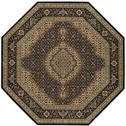 Nourison BD03 Persian Arts Octagon Rug, 7-Feet 9-Inch by 7-Feet 9-Inch, Black