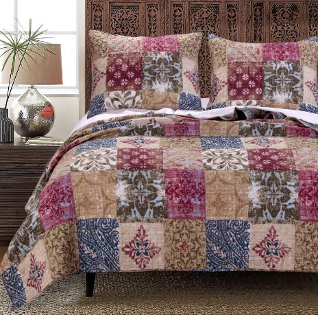 3-Piece-Medallion-Motif-Quilt-Full-Queen-Set-Beautiful-All-Over-Patch-Work-Pretty-Bohemian-Boho-Chic-Bedding-Stylish-Multicolor-Floral-Damask-Pattern-Multi-Color-Blue-Fuchsia-Pink-Red-Beige-Tan