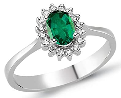 0.56 Carats 18k Solid White Gold Emerald and Diamond Engagement Wedding Bridal Promise Ring Band