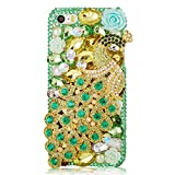 Mavis's Diary Green Luxury 3D Handmade Full Bling Crystal & Rhinestone Metal Golden Peacock Design Clear Cover Case with Soft Clean Cloth for Iphone 5
