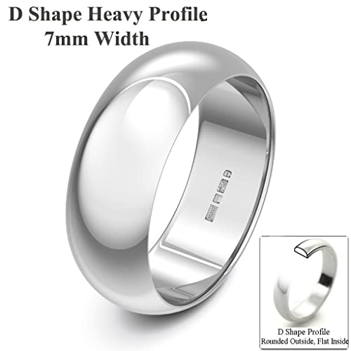 Xzara Jewellery - 18ct White 7mm Extra Heavy D Shape Hallmarked Ladies/Gents 12.6 Grams Wedding Ring Band
