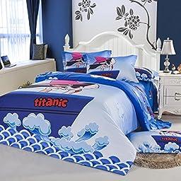 CASA Kids Bedding Fashion cartoon pattern duvet cover & pillow cases & Fitted Sheet,4 Pieces,Queen