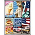 American Way of Life - Freiheitsstatue US Flagge Auto Hamburger 9-teiliges K�hlschrank Magnet Set