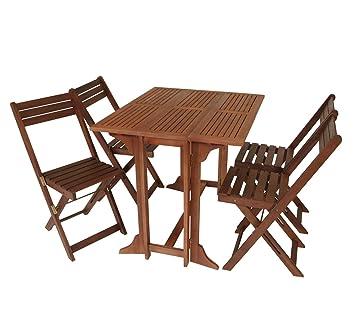 Balkonset 5-teilig, 4x Klappstuhl, 1x Doppelklappentisch, Eukalyptusholz, FSC®-zertifiziertes Produkt