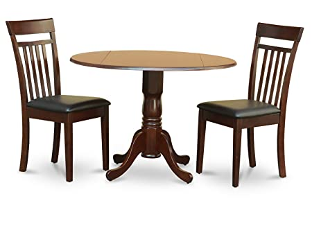 East West Furniture DLCA3-MAH-LC 3-Piece Kitchen Nook Dining Table Set