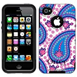 Otterbox Commuter Paisley Blue Pink on White Case for Apple iPhone 4