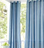 "UV-Resistant Outdoor 50""W x 84""L Grommet-Top Curtain, in Blue Stripe"