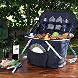 Picnic at Ascot Collapsible Insulated Picnic Basket for 2 in Navy