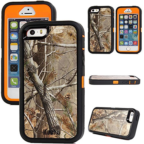 For iphone 5s Case - Generic Defender Series Heavy Duty Realtree Camo Shockproof Dirtproof Military Grade Drop Scratch Resistant Hybrid Bumper Full Body Protective Case w Built-in Screen Protector for iphone 5s 5not for iphone 5c--Camo Tree Leaves on the Orange Core Tree Orange