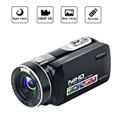 Camcorder Video Camera Night Vision Pause Function Full HD Camcorders 1080P 24.0MP Vlogging Camera with Remote Controller (Color: U-3)