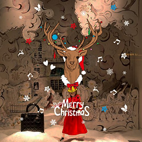 EMIRACLEZE Black Friday Merry Chirstmas and Happy New Year Buck Removable Mural Wall Decal for Window Decoration Glass Door and Wall Home Decor (Interior Designer Glass Doors compare prices)