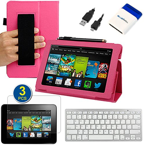 =>>  BIRUGEAR Slim Folding Leather Case & Keyboard, Screen Protector for All New Kindle Fire HD 7 Inch Tablet (2013 Release) ( Hot Pink, w/ HandStrap & Stand )