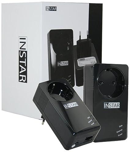 Instar 100375 Kit de démarrage contenant 2mini-adaptateurs CPL avec prise intégrée 500Mbps/s 2W Noir