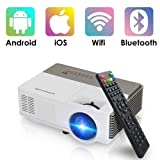 Pocket Bluetooth Wifi Wireless Mini Projector 1500lumen, HDMI Built-in Speaker Support 1080p HD Airplay Screen Mirror, Multimedia Digital Portable Video Projector for Gaming Basement Movie Art Tracing (Color: Mini Projector 1500 Lumens WIFI Bluetooth)