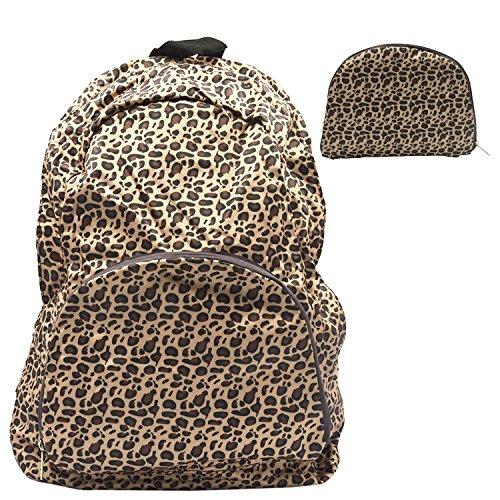Mode Leopard Muster wasserdichte faltbare Rucksack faltbar Schule Studenten Umhängetasche Unterwegs Outdoor Wandern Sporttasche