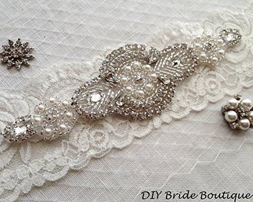 Rhinestone Applique, Crystal Applique, Pearl Applique, Wedding Applique, Beaded Patch for Diy Wedding Sash, Bridal Accessories