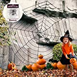 Newisland 11.8 Ft Giant Spider Web with Stretch Cobweb Set, Halloween Party Decorations