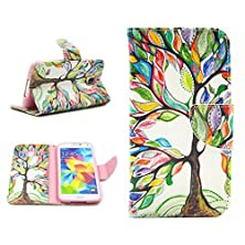 buy Imagexia - For Galaxy S5 Case - [Walelt Case] With Card Slot Style Tree Premium Pu Leather [Stand View] Flip Skin Cover For Samsung Galaxy S5 Sv