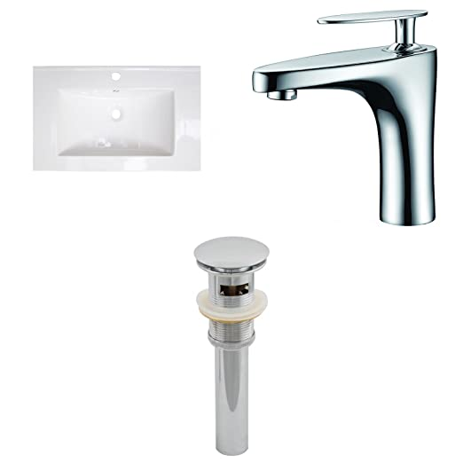 "Jade Bath JB-16693 32"" W x 18"" D Ceramic Top Set with Single Hole CUPC Faucet and Drain, White"