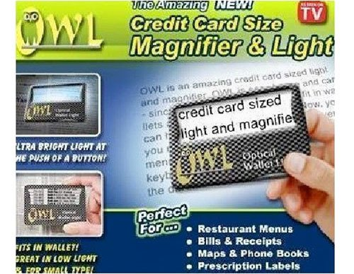 Amazing OWL Credit Card Size Magnifier and Light Black