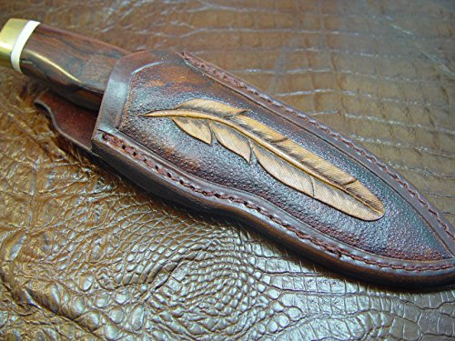 leather-knife-sheath-for-buck-692-vanguard-or-zipper-tooled-w-feather-dyed-brown