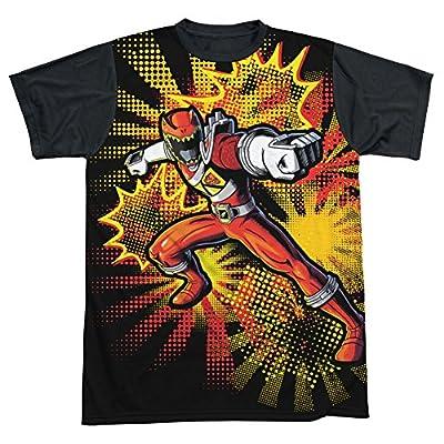 Power Rangers Dino Charge Red Ranger Burst - All Over Yellow Back T-Shirt