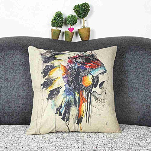Wkae® Decorative Cotton Linen Square Throw Pillow Case Cushion Cover Throw Pillow Shell Pillowcase for Sofa Indian Totem Skull Head Pattern