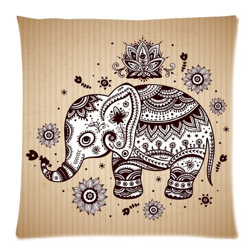 "Indian Elephant With Floral Pattern Custom Zippered Pillow Cushion Case Throw Pillow Covers 20""X20""(Two Sides)"