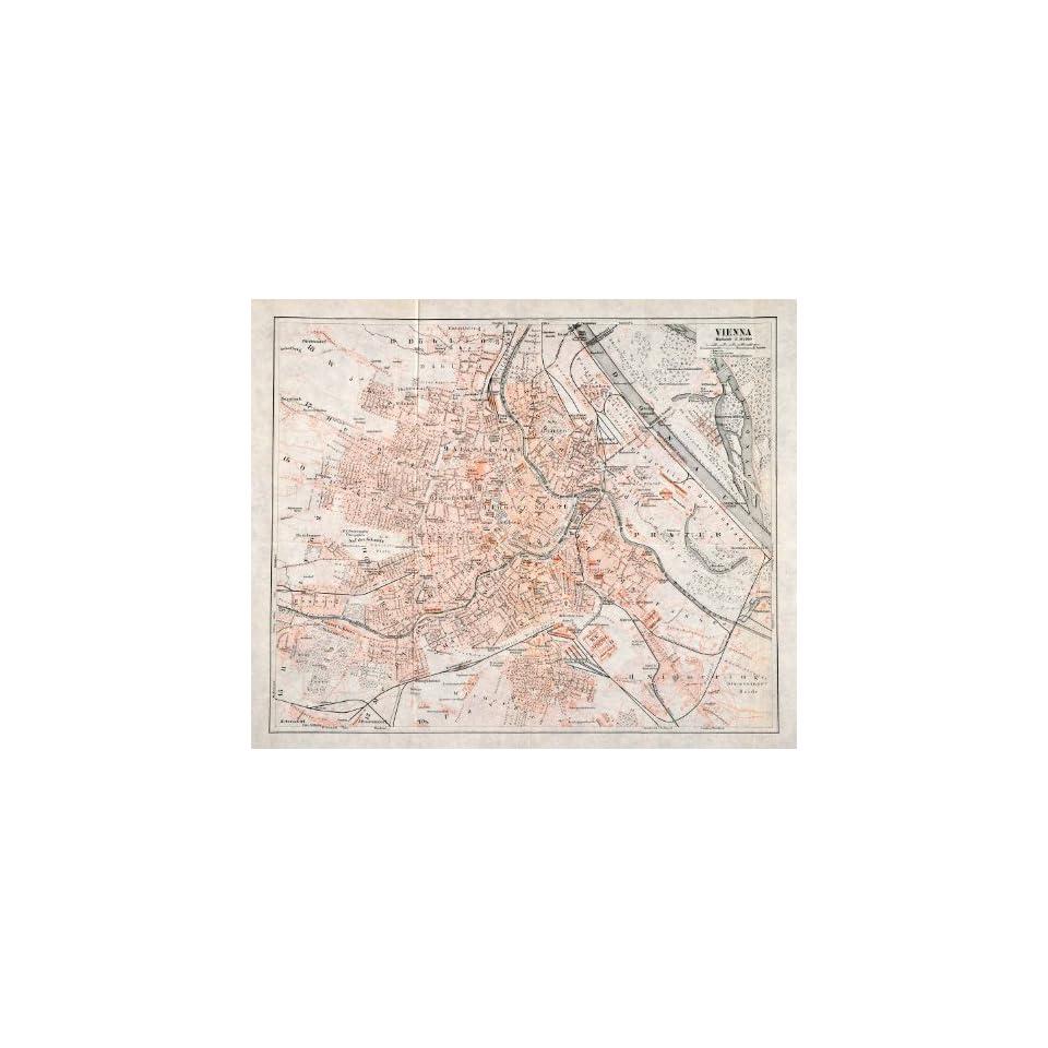 1902 Lithograph Antique Map Vienna Austria Hungary Augarten Arsenal Breitensee   Original Lithograph