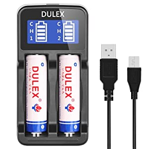 DULEX Universal Smart Battery Charger for 3.7v lithium ion 18650 18350 18500 16340 RCR123a 18490 14500 17670 17500 and NiMH/NiCd AA AAA Rechargeable batteries with USB Charging cable (Color: Vr Headset20, Tamaño: Vr Headset20)