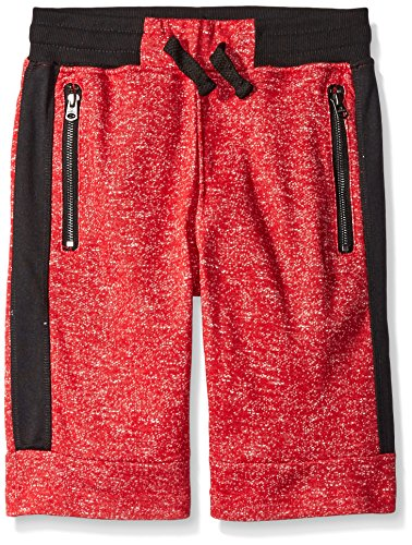 Southpole Big Boys Jogger Shorts In French Terry Basic Marled with Color Blocking, Marled Red, Medium