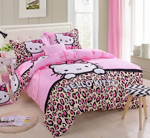 Lt Queen King Size 100% Cotton Girls Princess Character Cartoon Kids Gift Bedding 4-Pieces Hello Kitty Pink Black Yellow Leopard Skin Prints Duvet Cover Set/Bed Linens/Bed Sheet Sets/Bedclothes/Bedding Sets/Bed Sets/Bed Covers/Bedroom Sets/5-Pieces Comfor front-998586