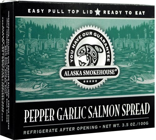 Alaska Smokehouse Pepper Garlic Salmon Spread Totem Design, 3.5 Ounce Boxes (Pack of 6)
