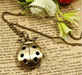 Childhood Memory Pointer Black Ladybug Shage Pocket Watch Necklace Chain Arabic Nomber Quartz Movement Antique Style