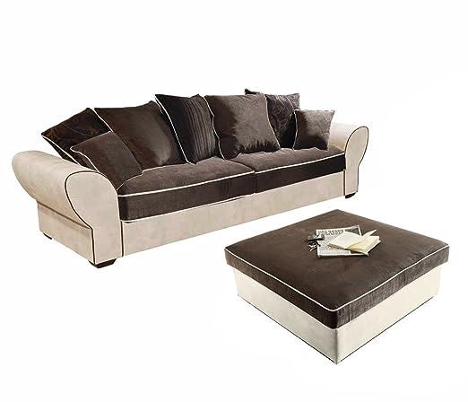 Sofa mit Hocker mit Microveloursbezug, Schlaffunktion, Korpus in creme, Rucken und Sitz in schwarz-braun, Nosagunterfederung,B/H/T ca. 267/98/103 cm