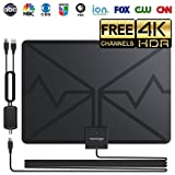 HDTV Antenna, Indoor Digital TV Antenna 80 Miles Range with Newset Amplifier Signal Booster - 4K Local Channels Broadcast for All Types of Smart Television - Updated 2018 Version